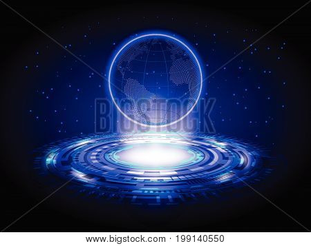 Blue Technology Hologram World Map Circle Hologram Abstract Background Element of this image furnished by NASA