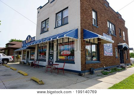 JOLIET, ILLINOIS / UNITED STATES - JULY 17, 2017: The Big Chill and Grill offers homemade Italian food and ice cream, on Wilcox Street.
