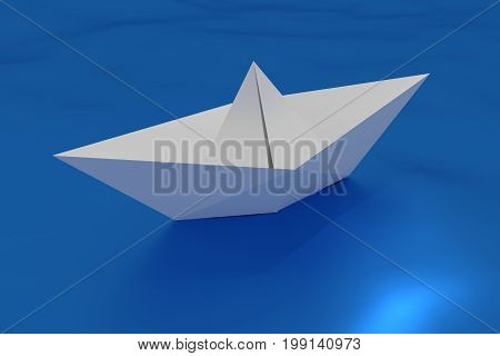 Paper Origami Ship Floating In The Water