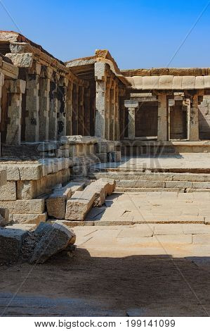 View of the temple courtyard of Bala Krishna in Hampi, Karnataka, India. The prominent historical Site is the Balakrishna temple built by the ruler Krishnadevaraya in 1513.