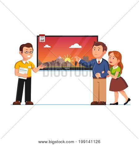 Seller or shop assistant showing big wall tv screen to customer man and woman. Family couple clients at electronics store. Retail business. Flat style vector illustration isolated on white background.