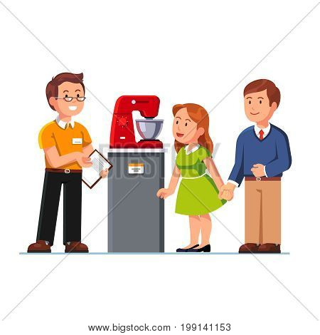 Seller shop assistant showing kitchen stand mixer to man and woman. Family couple customers at domestic appliances store. Retail business. Flat style vector illustration isolated on white background.