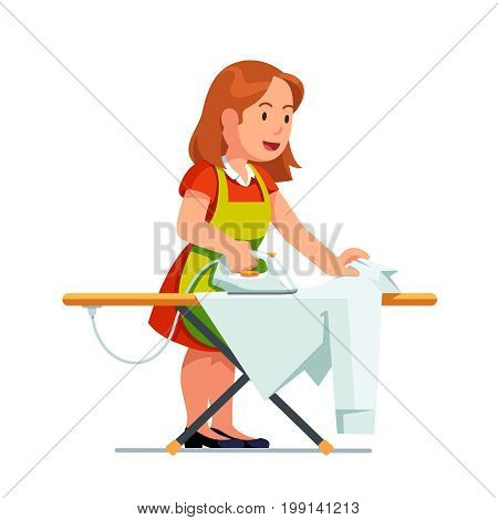Young housewife woman ironing shirt using iron and board. Housekeeper girl in dress and apron doing housework job. Flat style vector illustration isolated on white background.