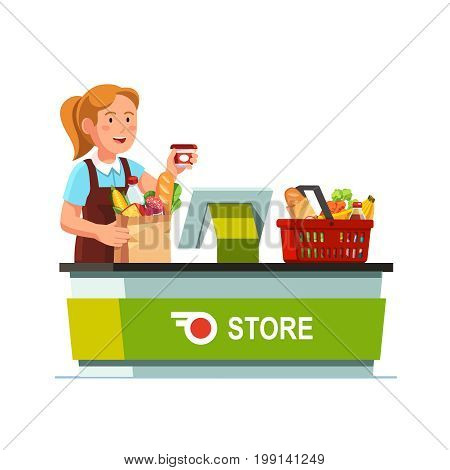Cashier girl working at grocery store checkout counter. Sales clerk taking out goods from shopping food basket, ringing, packing paper bag. Flat style vector illustration isolated on white background.