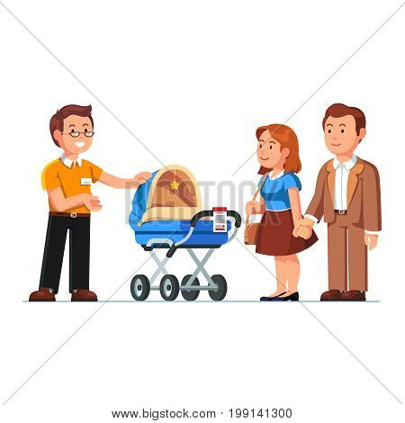 Seller or shop assistant showing newborn baby stroller to customers man, woman. Family couple parents buying new kid pram in children store. Retail business. Flat style vector isolated illustration.
