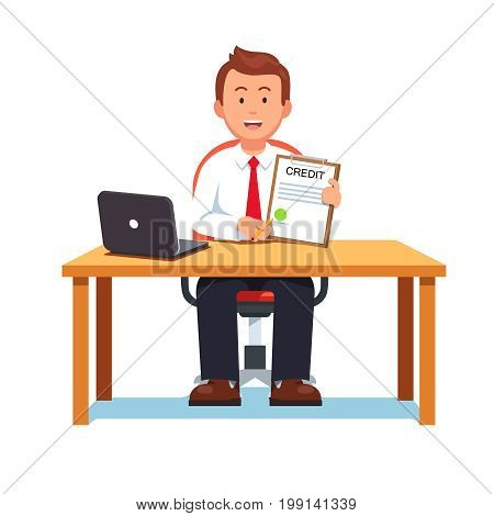 Smiling banking clerk showing bank credit, loan contract or mortgage agreement sitting at desk with laptop. Business man lender. Flat style vector illustration isolated on white background.