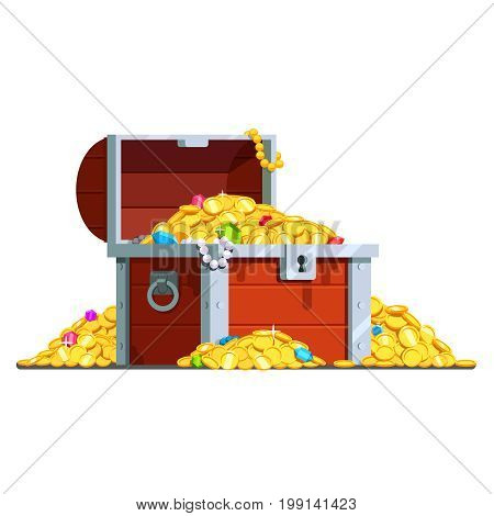 Open pirate antique treasure chest full of gold coins, crystal gem stones and jewellery. Wood and metal box with lock. Flat style vector illustration isolated on white background.