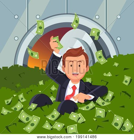 Smiling businessman inside bank vault lying in dollar cash and throwing banknotes up in air. Rich billionaire man swimming in money. Business success concept. Flat style vector illustration.