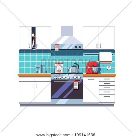 Kitchen interior with cabinets shelves, oven, cooker hood, mixer, kettle, sink tap. Home appliances or furniture store. Retail business. Flat style vector illustration isolated on white background.