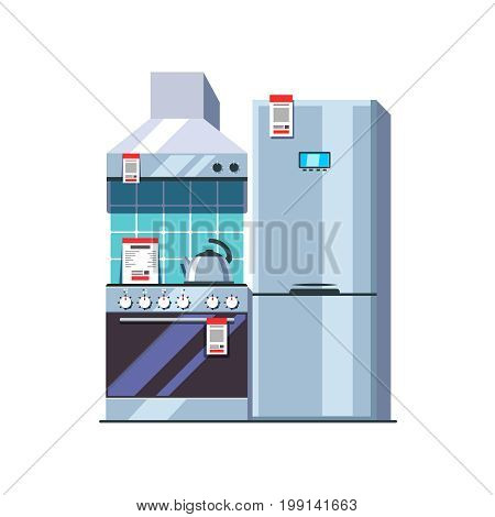 Kitchen appliances store. Oven, cooker, range hood, kettle and single door fridge with freezer. Retail business concept. Flat style vector illustration isolated on white background.