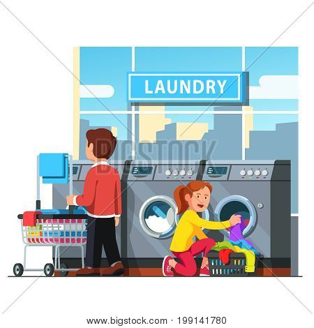 Laundromat self service. Man rolling wheeled laundry basket or cart and woman loading clothes to the washing machine in public launderette. Flat style vector illustration isolated on white background.