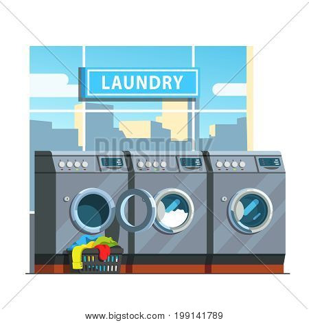 Public laundromat line of washing machines. Laundry basket with dirty clothes in front of open door washer. Launderette service. Flat style vector illustration isolated on white background.