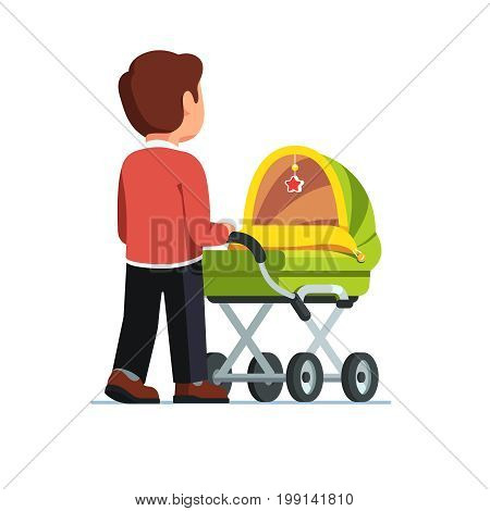 Father or dad pushing baby stroller. Babysitter man walking with kid in green pram. Child care concept. Flat style vector illustration isolated on white background.