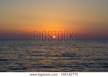 Decline on the sea coast, sea tour, an evening landscape