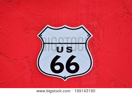 A American interstate highway route 66 shield.
