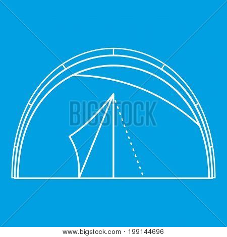 Semicircular tent icon blue outline style isolated vector illustration. Thin line sign