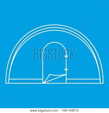 Dome camping tent icon blue outline style isolated vector illustration. Thin line sign
