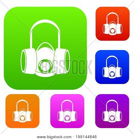 Respirator set icon in different colors isolated vector illustration. Premium collection