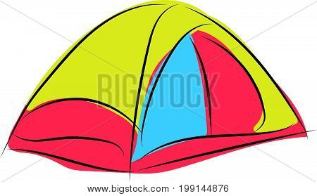 graphic design editable for your design, hand drawn camping tent isolated on white background