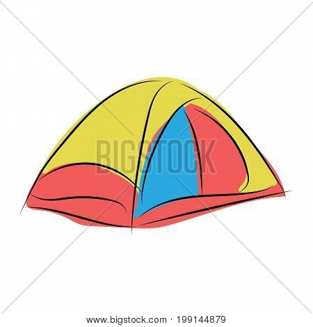 graphic design editable for your design, hand drawn camping tent isolated on white background. Vector Illustration.