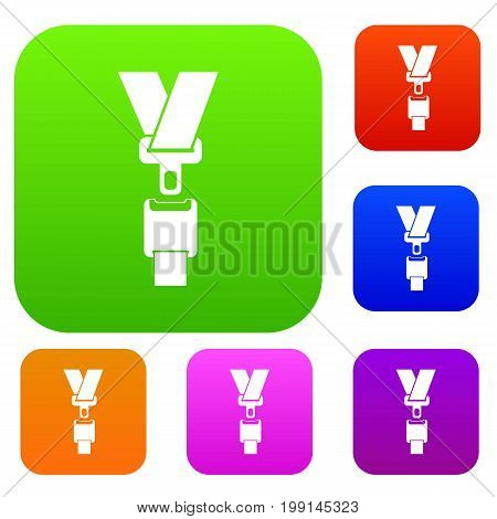 Safety belt set icon in different colors isolated vector illustration. Premium collection