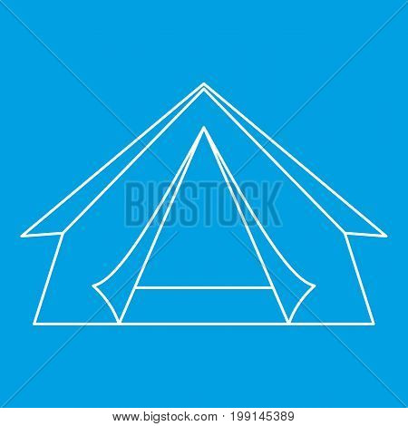 Tent icon blue outline style isolated vector illustration. Thin line sign