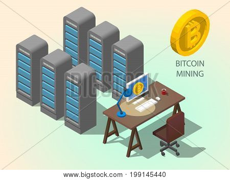3d isometric computer online mining bitcoin concept. Golden coin with Bitcoin symbol