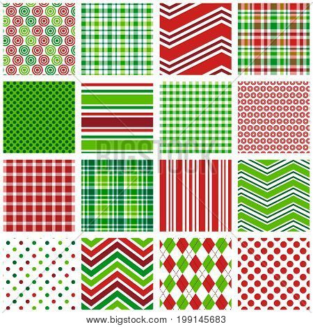 Christmas Patterns - 16 seamless red and green Christmas and holiday background patterns.
