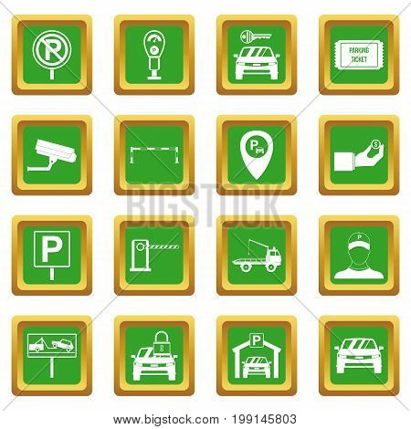 Parking set icons set in green color isolated vector illustration for web and any design