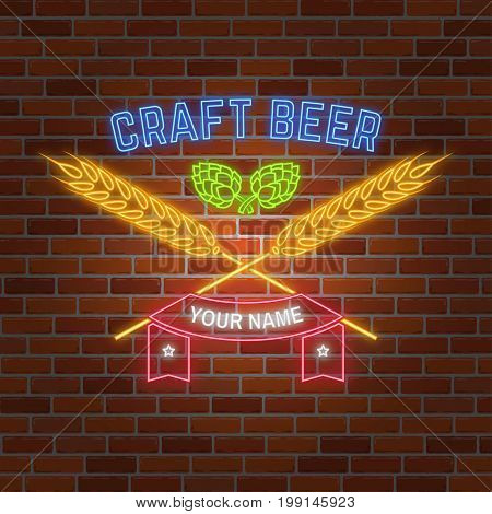 Retro neon Beer Bar sign on brick wall background. Vector illustration. Neon design for bar, pub or restaurant business. Premium quality beer.