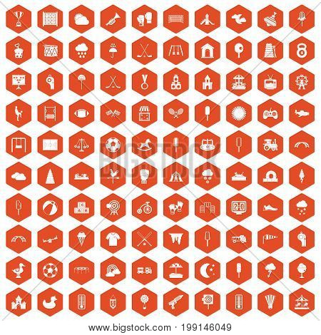 100 childrens playground icons set in orange hexagon isolated vector illustration