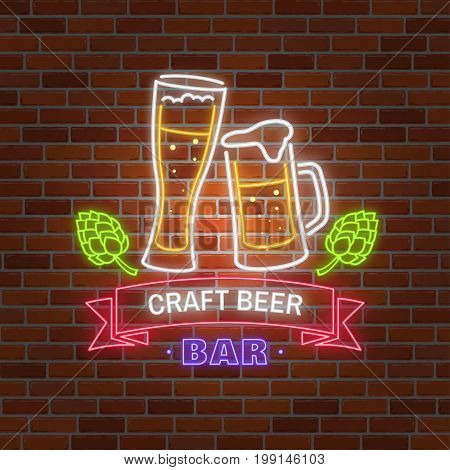 Retro neon Beer Bar sign on brick wall background. Vector illustration. Neon design for bar, pub or restaurant business. Craft beer.