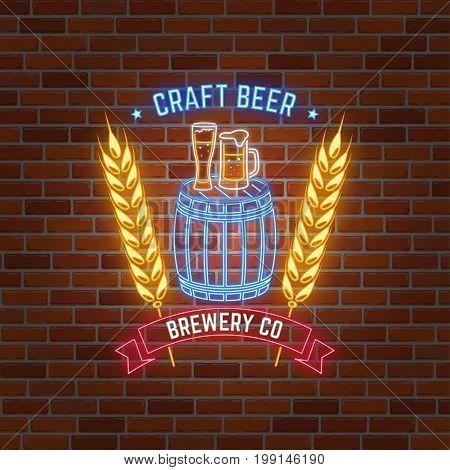 Retro neon Beer Bar sign on brick wall background. Vector illustration. Neon design for bar, pub or restaurant business. Craft beer.