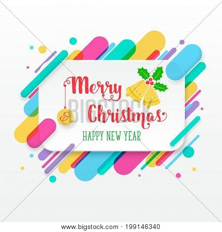 Merry Christmas and Happy New Year greeting card with abstract colored rounded shapes lines in diagonal rhythm. For greeting card, poster, brochure or flyer template. Vector illustration.