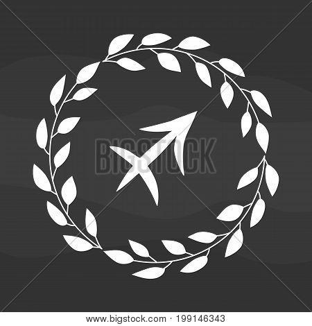 Chalk drawing flat sagittarius symbol in rustic floral wreath