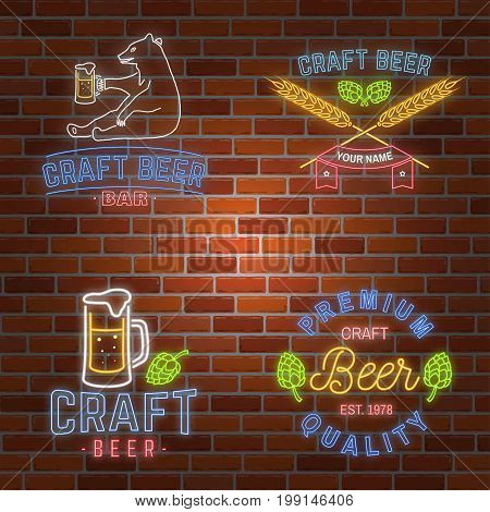 Set of neon signboard Craft Beer Bar with hops, barley and pint of beer on brick wall background. Vector illustration. Vintage design for bar, pub and restaurant business.