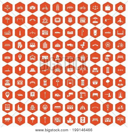 100 city icons set in orange hexagon isolated vector illustration