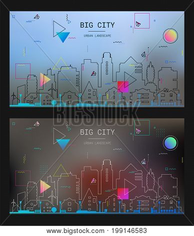 New material style trendy bold linear Big City illustration, in new material retro 80-90s style design, on blurred background