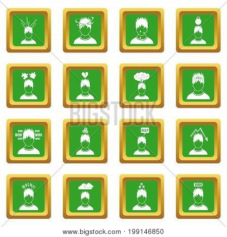 Stress icons set in green color isolated vector illustration for web and any design