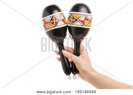 Maracas in female hands on white background isolation