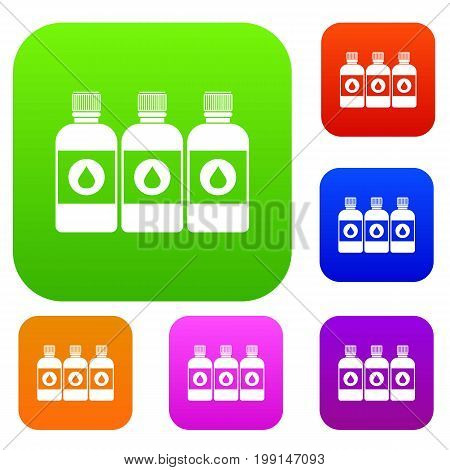 Printer ink bottles set icon in different colors isolated vector illustration. Premium collection