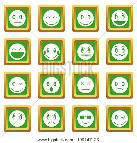 Emoticon icons set in green color isolated vector illustration for web and any design