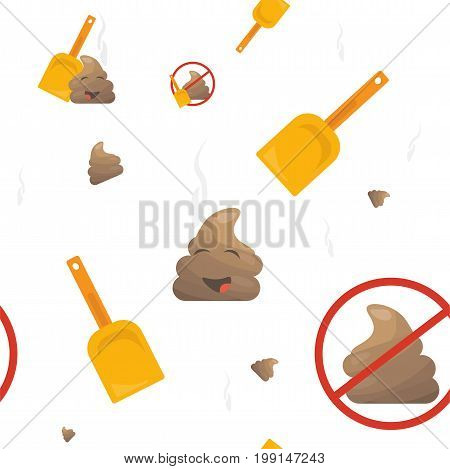 Poop Emoji Seamless Vector Pattern: poo mascot or shit character, shovel and no pooping sign. Trendy bizarre Poop or poo emoticon wallpaper.