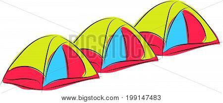 graphic design editable for your design, hand drawn camping site isolated on white background. Vector Illustration.