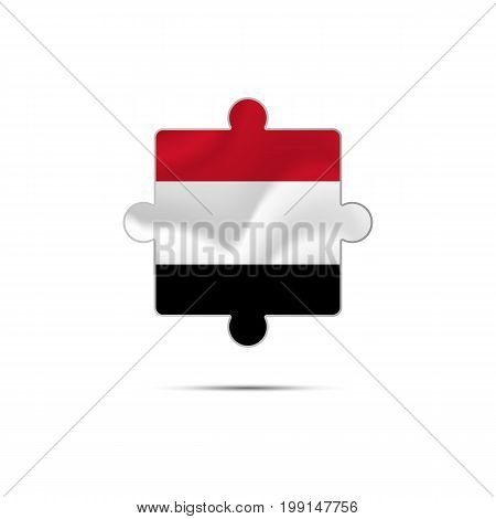 Isolated piece of puzzle with the Yemen flag. Vector illustration.