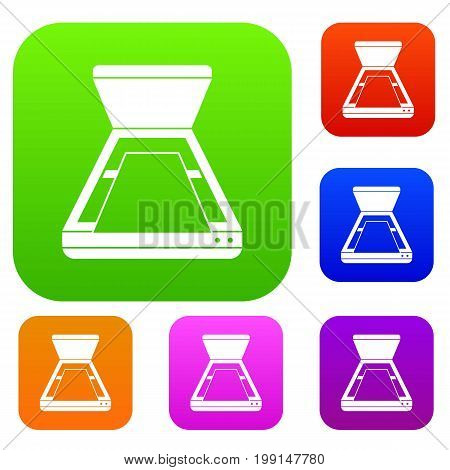 Open scanner set icon in different colors isolated vector illustration. Premium collection