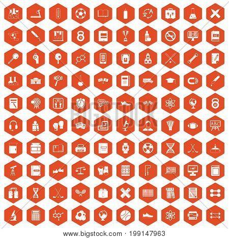 100 college icons set in orange hexagon isolated vector illustration