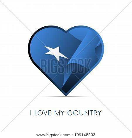Somalia flag in heart. I love my country. sign. Vector illustration.