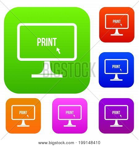 Print word on a computer monitor set icon in different colors isolated vector illustration. Premium collection