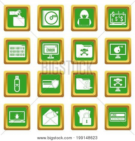 Criminal activity icons set in green color isolated vector illustration for web and any design